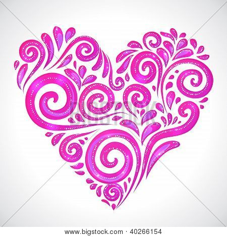 Rose vector shining heart on white background