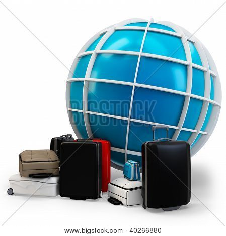 3D Global Traveling With Pile Of Luggage