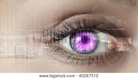 Visualización de información digital representada por círculos y signos de ojo
