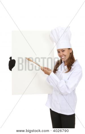 Pretty Chef Holding Menu