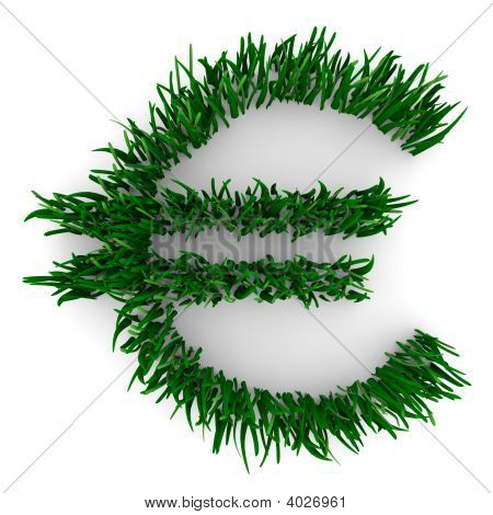Euro Sign Made Of Grass