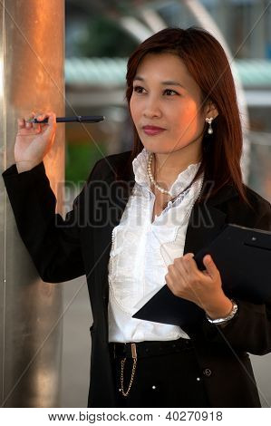 Confused Thai Businesswoman,oriental Office Lady .