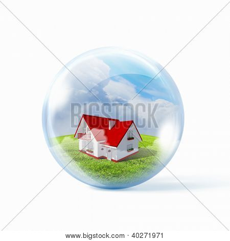 Residential building inside a transparent glass sphere