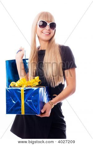 Stylish Woman With Presents