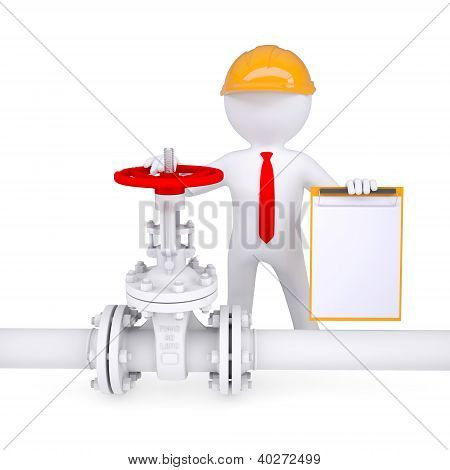 3D Man With A Clipboard Next To The Valve On The Pipeline