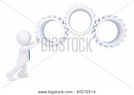 3D Man Rotate The Gears