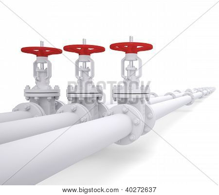 Three Valves On The Pipeline
