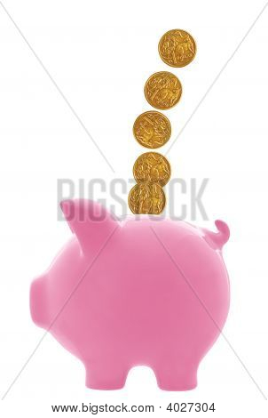 Piggy Bank With Australian Dollars