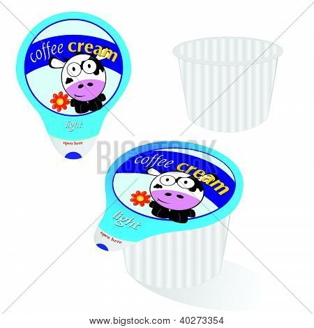Coffee Cream With Cow Vector Illustration Part Four