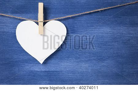 Blank White Heart Over Wood Wall