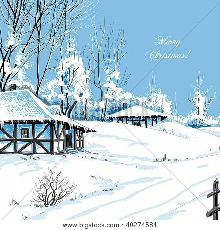 Christmas greeting card idyllic snowy landscape vector illustration