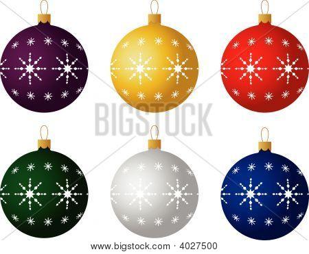 Set Of Six Christmas Ornaments. Vector
