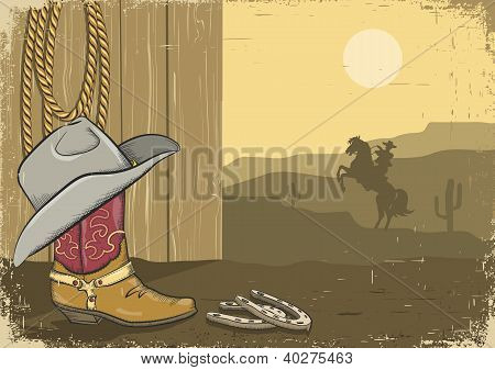 Vintage Cowboy Background On Old Paper With Western Elements