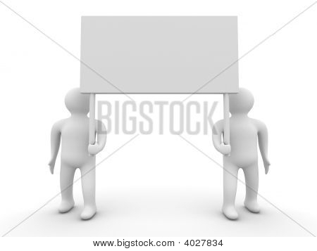 Two Persons Hold A Banner On White Background. 3D Image