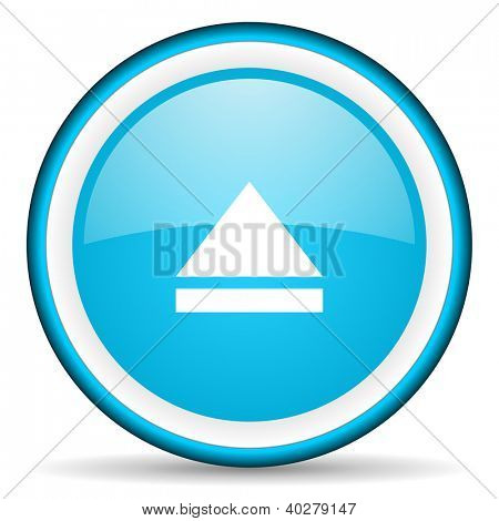 eject blue glossy icon on white background