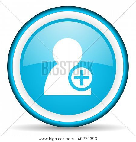 add contact blue glossy icon on white background