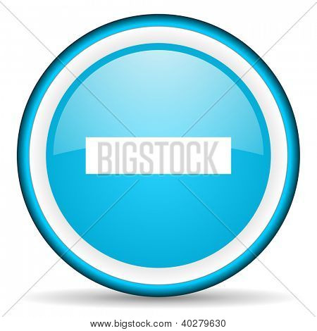 minus blue glossy icon on white background