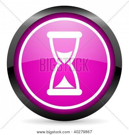 icono brillante tiempo violeta sobre fondo blanco