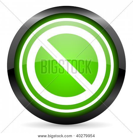 access denied green glossy icon on white background