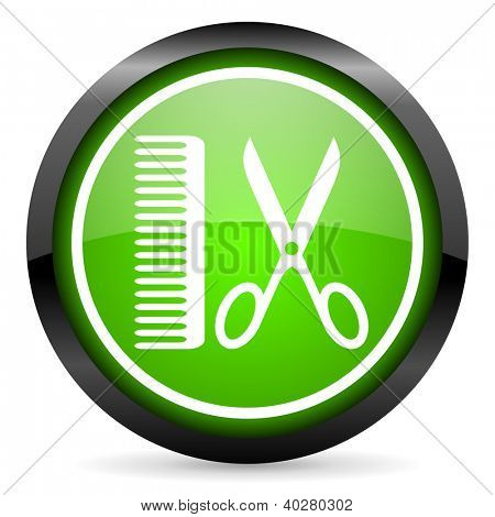 barber green glossy icon on white background