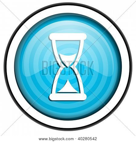 time blue glossy icon isolated on white background