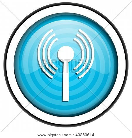 wifi blue glossy icon isolated on white background