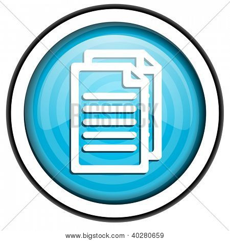 document blue glossy icon isolated on white background
