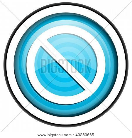 access denied blue glossy icon isolated on white background
