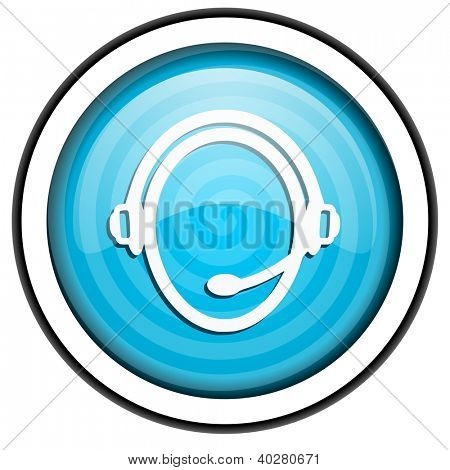 customer service blue glossy icon isolated on white background