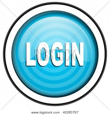 login blue glossy icon isolated on white background