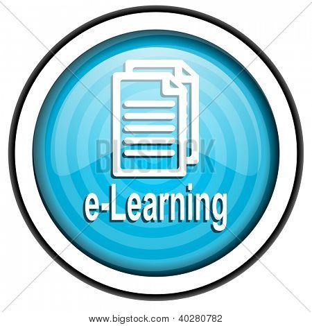 e-learning blue glossy icon isolated on white background