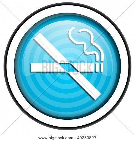no smoking blue glossy icon isolated on white background