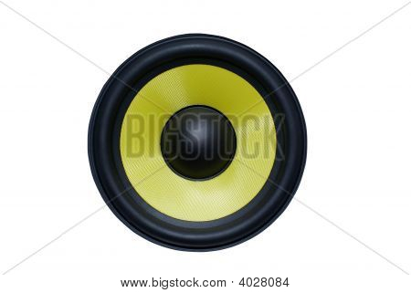 Yellow Audio Speaker Isolated On White Background