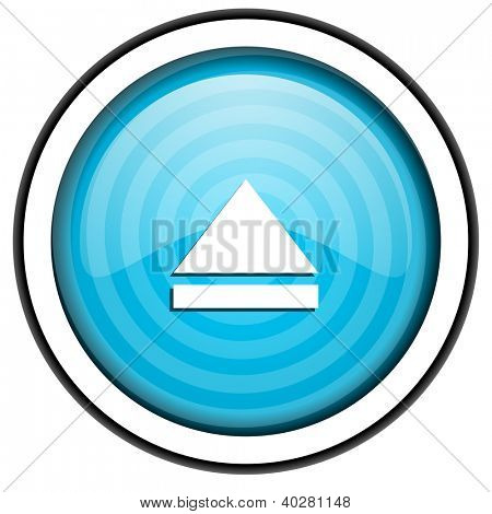eject blue glossy icon isolated on white background