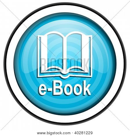 e-book blue glossy icon isolated on white background