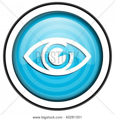eye blue glossy icon isolated on white background