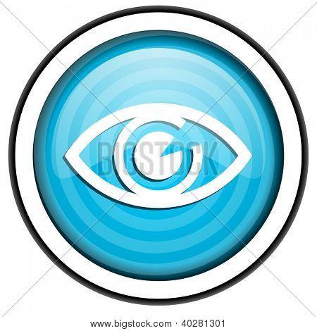 eye blue glossy icon isolated on white background