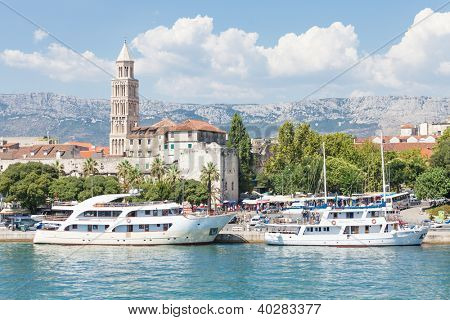 SPLIT, CROATIA - AUGUST 4, 2012: Ships in Split harbor on August 4, 2012 in Split, Croatia. Split is the second-largest city of Croatia.