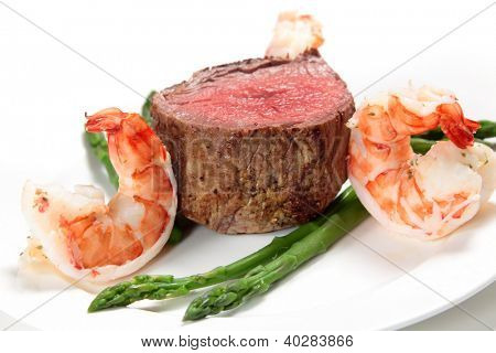 "Giant prawns with tenderloin steak and asparagus, a very basic ""surf and turf"" meal"
