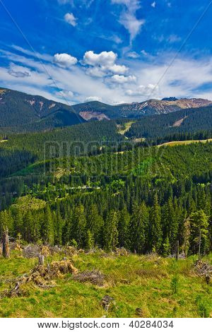 Mountainous Landscape View In Spring, Low Tatras, Slovakia