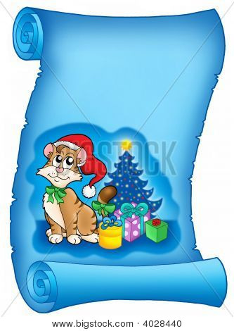 Blue Parchment With Christmas Cat