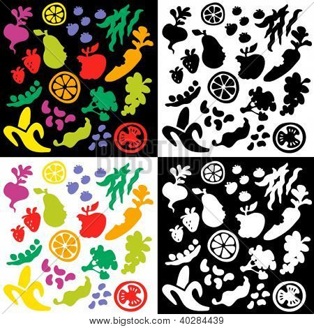 big set of whimsical fruit and vegetable silhouettes