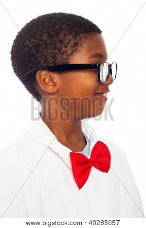 Profile Of Clever Scientist Child