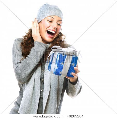 Happy Young Woman With Christmas Gift. Gift Box. Excited Girl With Holiday Present Laughing. Surprised Female