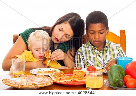 Mother With Kids Eating Pizza