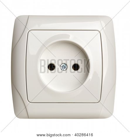 Closeup of electrical outlet isolated on white