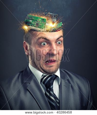 Short circuit in businessman computer brain
