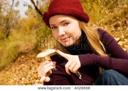 Pretty Girl With A Mushroom