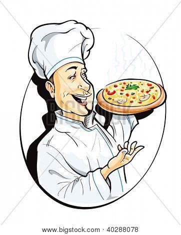 cozinhar com ilustração vetorial de pizza isolada no fundo branco