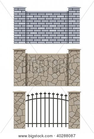 brick and stone fence set of vector illustration EPS10. Transparent objects and opacity masks used for shadows and lights drawing